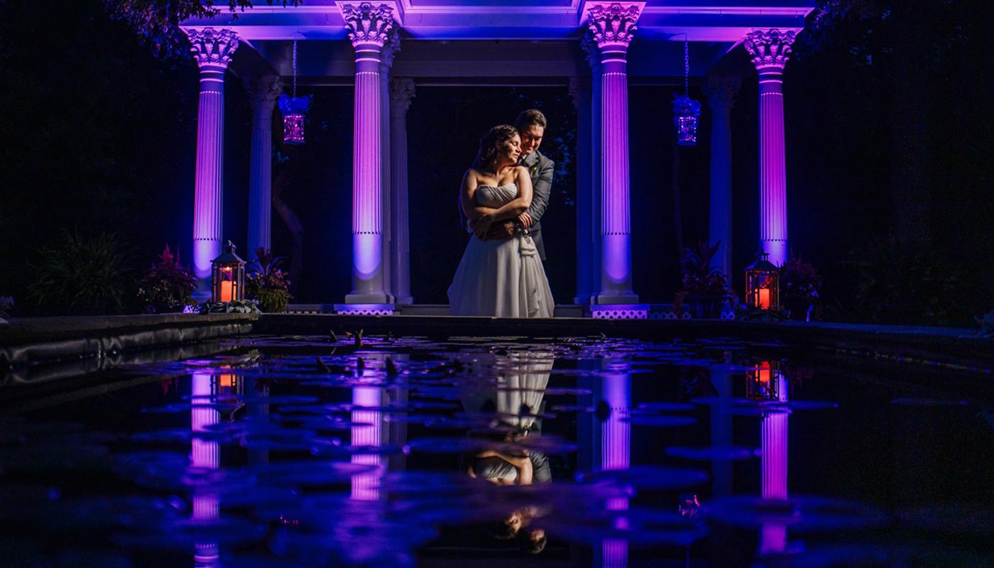Carisa and Joe, Reflective Night shot at Ceresville Mansion