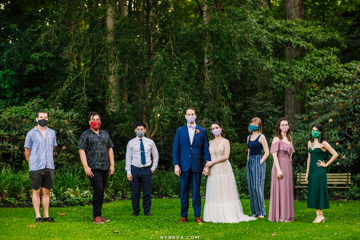 masked wedding party covid 19 wedding at gramercy mansion