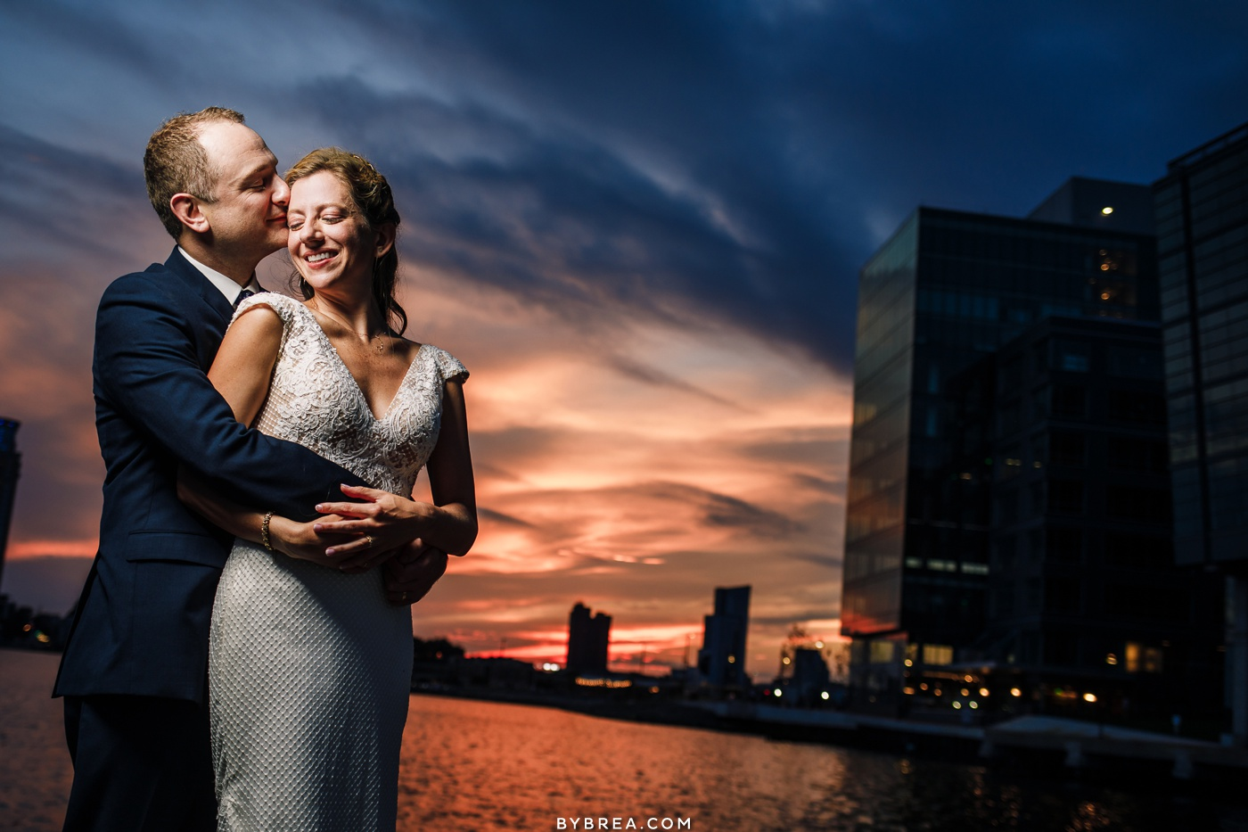 sunset wedding photo at frederick douglass isaac myers maritime museum in baltimore