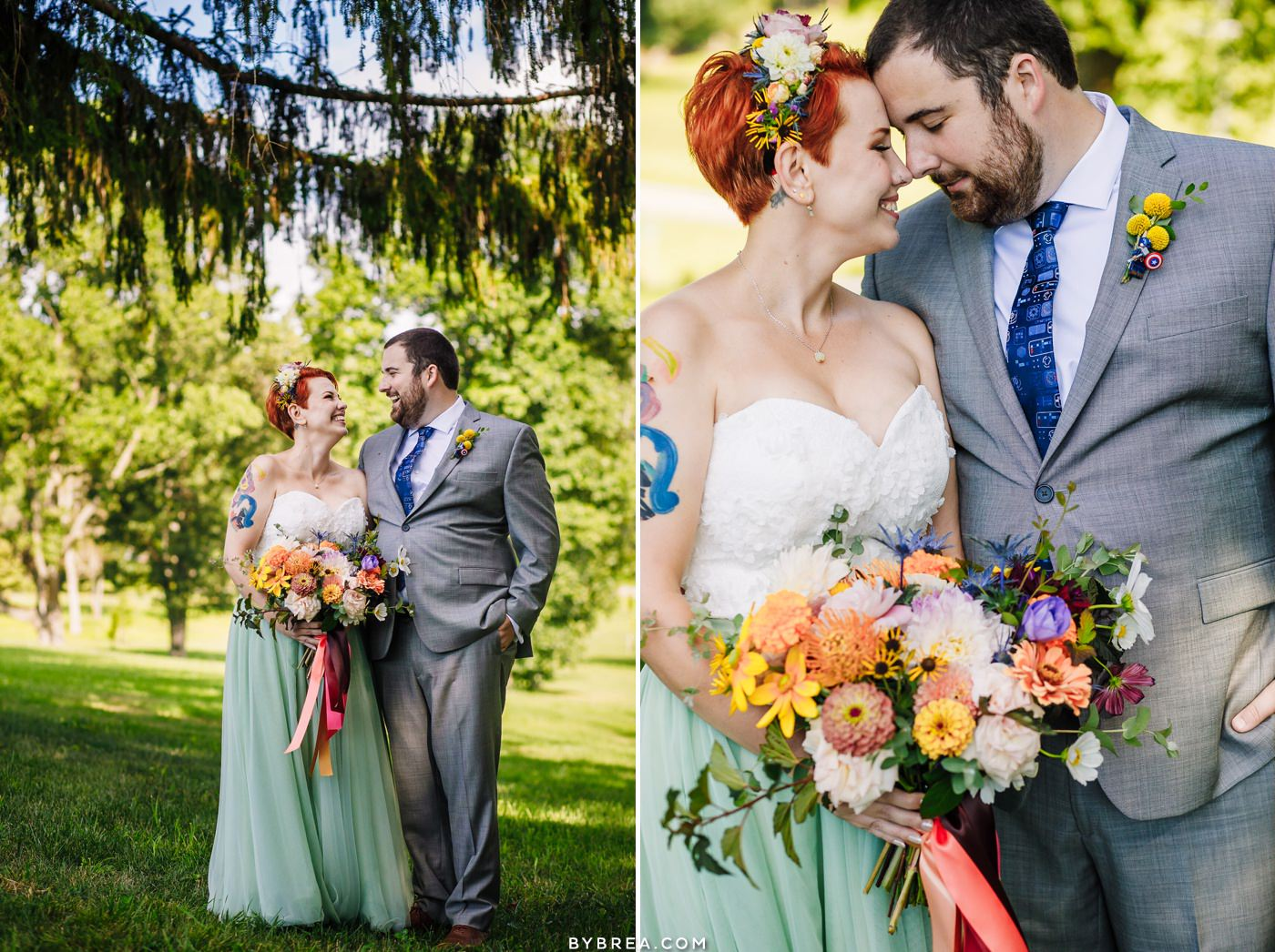 Bride and groom portraits at Caboose Farm