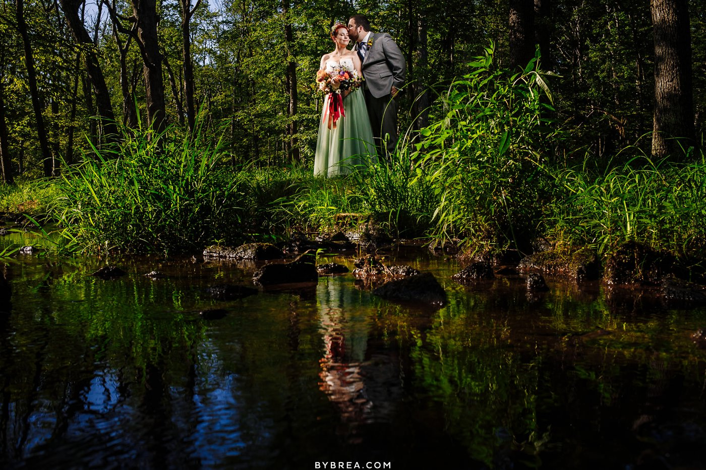 Caboose Farm Wedding photo near creek