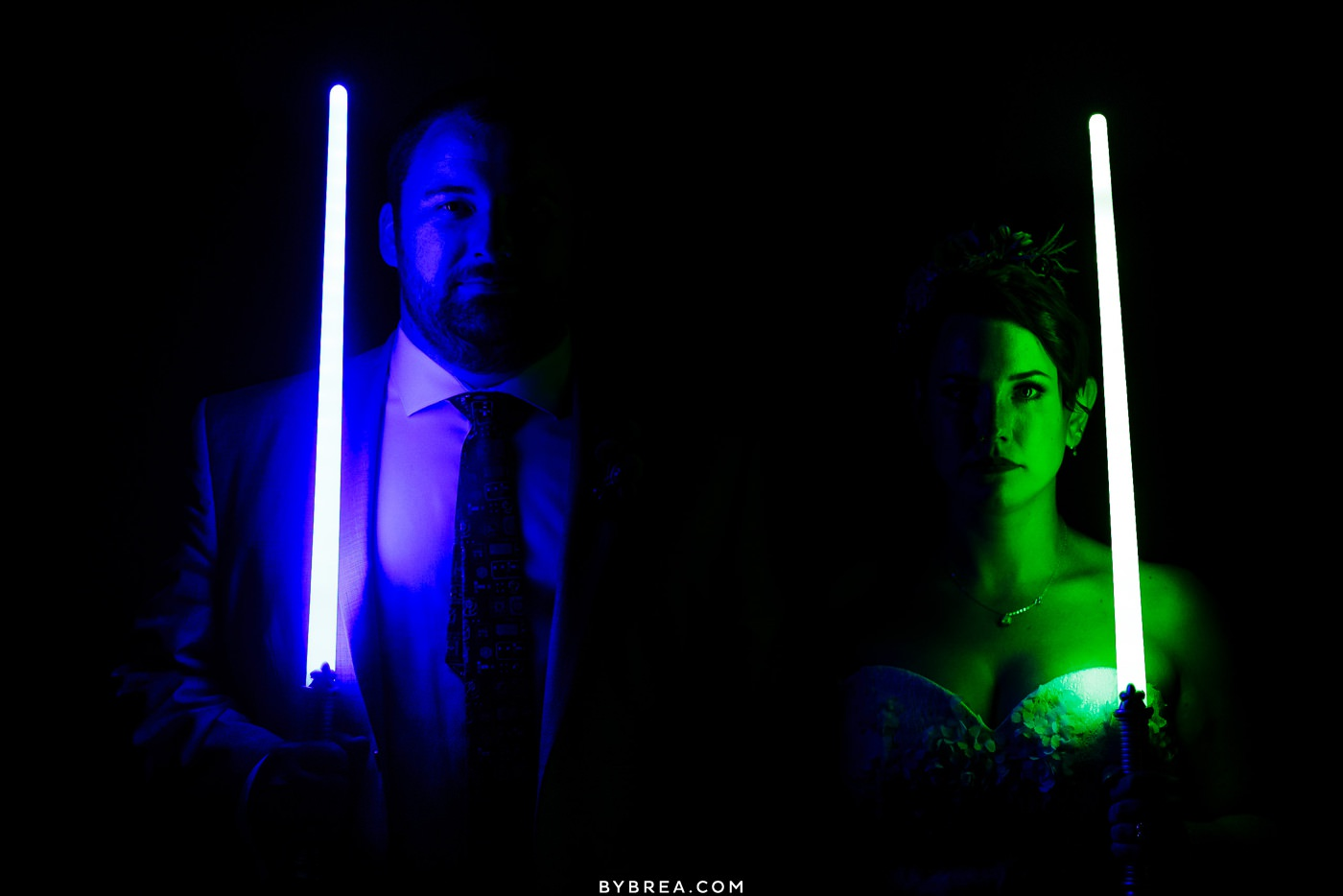 Star wars night shot with couple at Caboose Farm