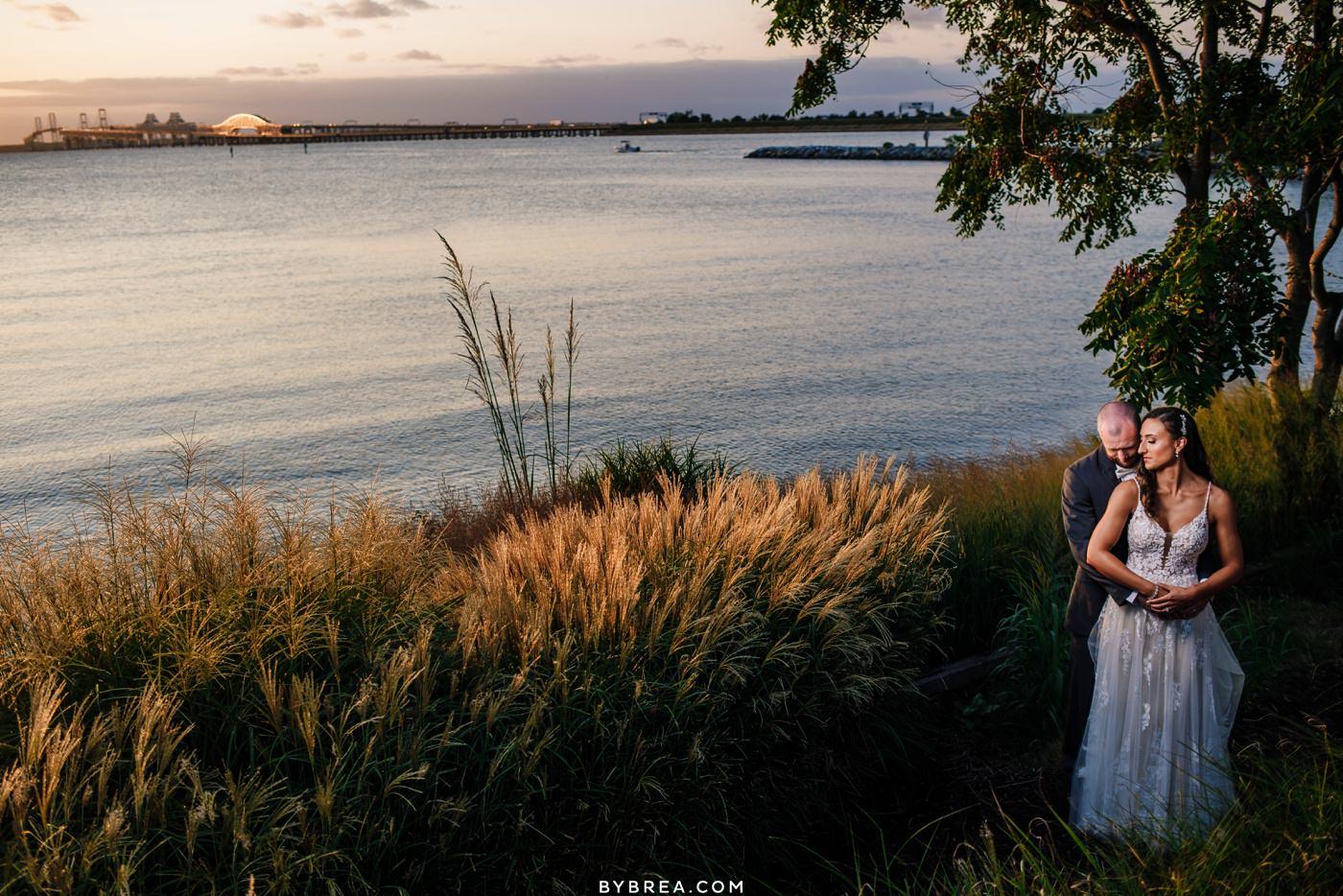 chesapeake bay beach club wedding photos at sunset