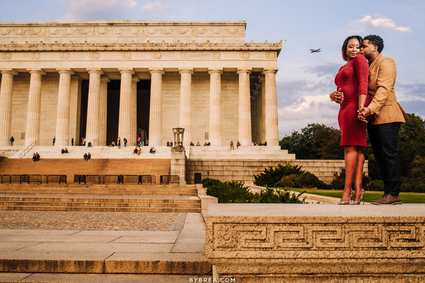 Sunrise engagement photo at the Lincoln Memorial in Washington DC