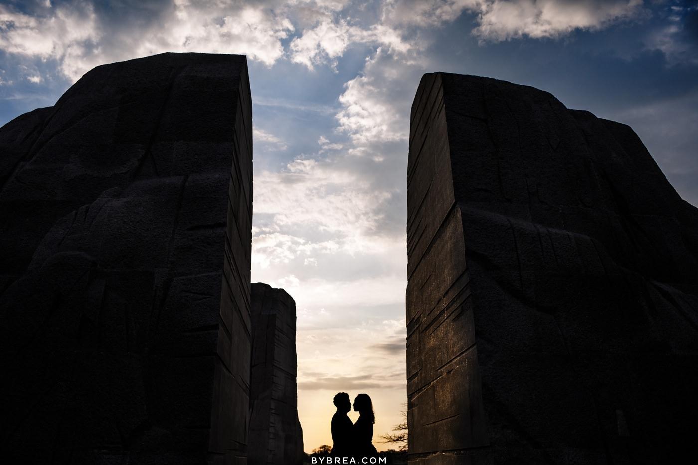 Sunrise engagement photo at the MLK Memorial in Washington DC