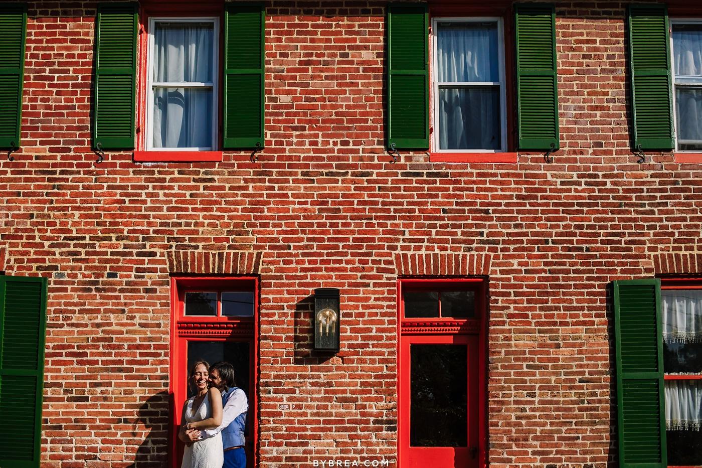 Bride and groom portrait at Elkridge Furnace Inn Garden house