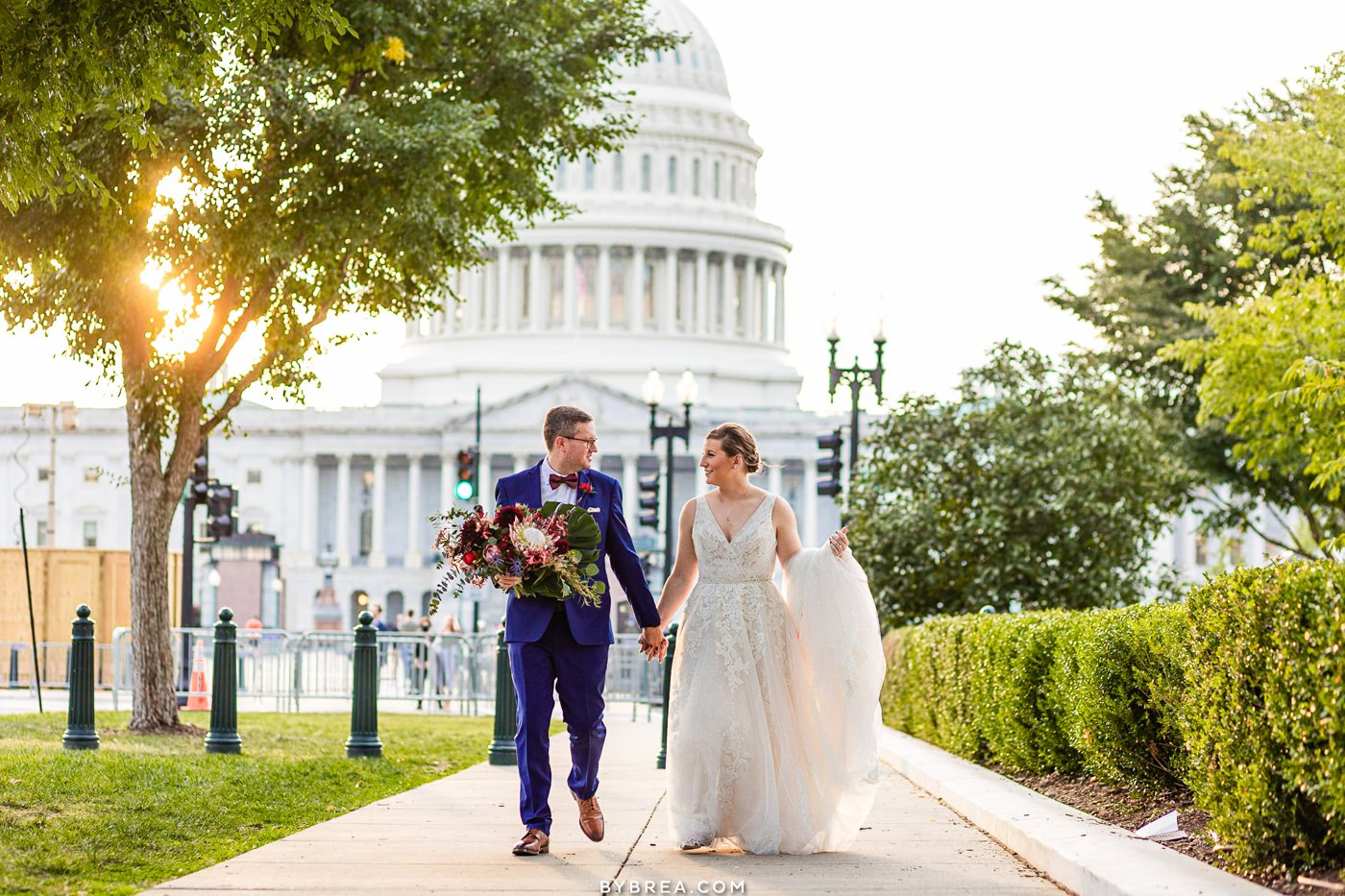 Bride and groom portrait in front of Capitol building in DC