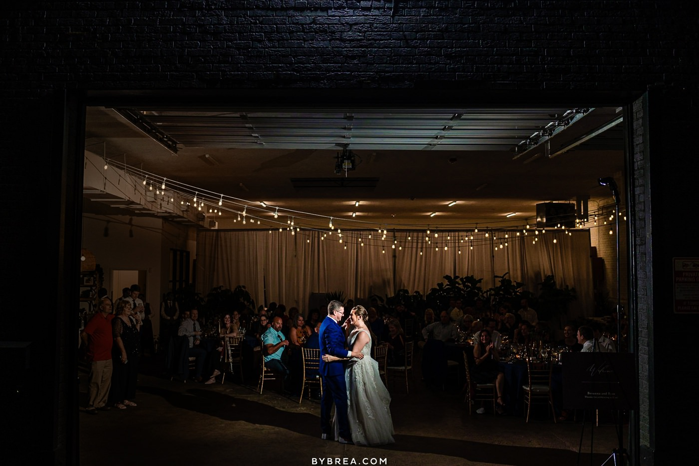 Wedding photo at the Sun Room in DC couple sharing first dance
