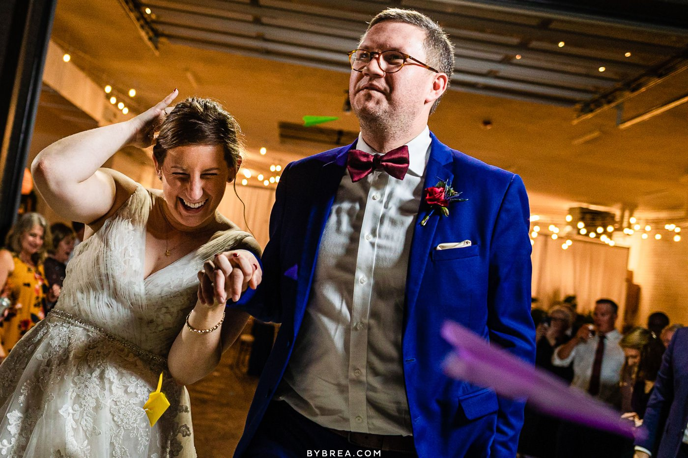 Wedding photo at the Sun Room in DC paper airplane exit